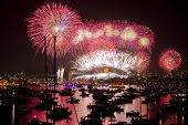 stock photo of mast  - New Years Eve Fireworks in Sydney Harbour - JPG