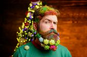 Merry Christmas And Happy New Year. Decorated Beard. Serious Bearded Man With Decorated Beard. Chris poster