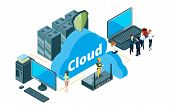 Cloud Storage Concept. Isometric Data Transfer Vector Illustration. Businesspeople And Housewife Use poster