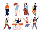 Music Band Characters. Rock Group Musicians Singing And Playing At Instrument Performing Stage Vecto poster
