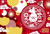 Chinese New Year Zodiac Rat And Flower Papercut Pattern Vector Greeting Card. Mouse Symbol Of Animal poster