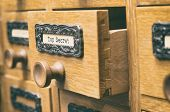 The Archives Card Catalog , Old Wooden File Catalog Box, Index , Database, Archive And Library Conce poster