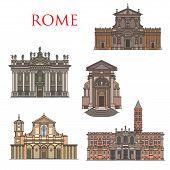 Rome Architecture Buildings, Italy Travel Sightseeing Landmarks. Vector Santa Maria Della Vittoria A poster