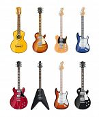 stock photo of rocking  - acoustic and electric guitars set of vector icon illustration isolated on white background EPS10 - JPG