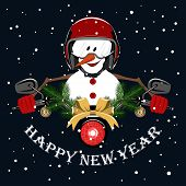 Vector Image Of A Cheerful Snowman Driving A Motorcycle. Snowman In A Motorcycle Helmet, Motorcycle  poster