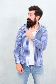 Look Over There. Male Casual Fashion Style. Barber Care For Real Men. Brutal Hipster With Mustache.  poster