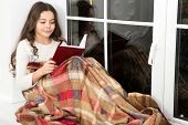Little Girl Reading Christmas Story. Best Christmas Book. Books Shop Commercial. Little Smiling Chil poster
