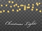 Lights Bulbs Isolated On Transparent Background. Christmas Tree Fairy Lights Wire String. Wedding Or poster