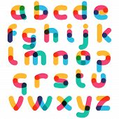 Overlapping One Line Lowercase Alphabet. Curve Rounded Font. Vibrant Glossy Colors. poster