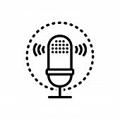Black Line Icon For Voice-recognition Voice Recognition  Voice Waves poster