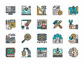 Set Of Engineering Flat Color Icons. Workplace, Tools, Engineer, Chip And More. poster