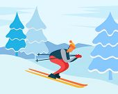 Man Skiing Downhill In Winter Forest. Ski Resort Path For Training Winter Sports. Male Wearing Warm  poster
