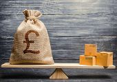 Pound Sterling Gbp Symbol Money Bag And A Bunch Of Boxes On Scales. Trade Exchange Balance. Import A poster