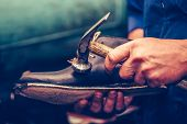 Shoemaker Making Comfortable Hand Made Shoes For People poster