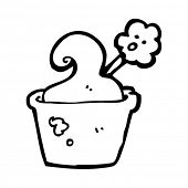 cartoon overheated flower in pot