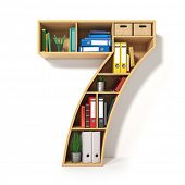 Number 7. Alphabet in the form of shelves with file folder, binders and books isolated on white. Arc poster