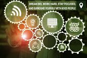 Word Writing Text Dream Big Work Hard Stay Focused. Business Concept For Dream Big Work Hard Stay Fo poster