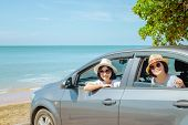 Summer Vacation And Car Trip Concept : Family Car Trip At The Sea, Woman And Child Cheerful In Car W poster
