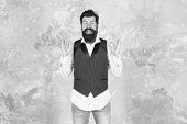 Be Ok Today. Happy Hipster With Mustache And Beard Show Ok Signs. Bearded Man Smiling With Ok Hand G poster