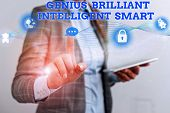 Word Writing Text Genius Brilliant Intelligent Smart. Business Concept For Clever Bright Knowledge I poster