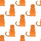 Tiger Seamless Pattern Background. Gorgeous Exotic Carnivorous Animal With Stripy Coat. Graceful Lar poster
