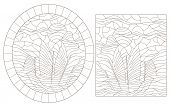 Set Of Contour Illustrations With Sailing Ships, Dark Contours On A White Background poster