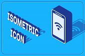 Isometric Smartphone With Free Wi-fi Wireless Connection Icon Isolated On Blue Background. Wireless  poster
