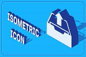 Isometric Upload Inbox Icon Isolated On Blue Background. Extract Files From Archive. Vector Illustra poster
