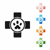 Black Veterinary Clinic Symbol Icon Isolated On White Background. Cross Hospital Sign. Stylized Paw poster