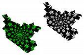 Bukhara Region (republic Of Uzbekistan, Regions Of Uzbekistan) Map Is Designed Cannabis Leaf Green A poster