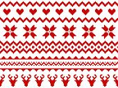 Nordic Traditional Seamless Pattern. Norway Christmas Sweater. Red And White Knitted Christmas Patte poster