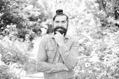 Eco Activist. Man Handsome Bearded Guy In Sunny Forest. United With Environment. Go Green Think Fres poster
