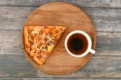 Slice Of Pizza With A Coffee. On Wooden Background. Slice Of Pizza And Morning Coffee. Top View Slic poster