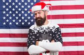 Brutal Man Wear Knitted Sweater. American Tradition. Bearded Hipster American Flag Background. Xmas  poster