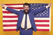 American By Birth. Rebel By Choice. Confident Businessman Handsome Bearded Man In Formal Suit Hold F poster