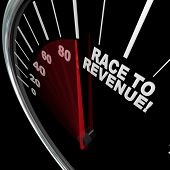 foto of maxim  - A red needle racing on a speedometer to the words Race to Revenue to symbolize the speed of growth in rising profits and funds - JPG