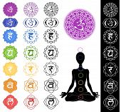 image of kundalini  - Man silhouette in yoga position with the symbols of seven chakras - JPG
