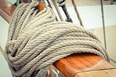 Thick Ropes On Sailboat. Part And Detail Of Yacht Concept poster
