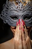 picture of incognito  - Close up shot of gorgeous Incognito woman in ancient style mask - JPG