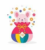 Korean Traditional Happy New Year Day, Year Of Rat. Cute Mouse In Korean Traditional Dress poster