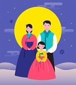 Korean Traditional Happy New Year Day, Year Of Rat. Happy Family Korean Traditional Dress poster