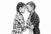 Childhood Friends. Little Friends Isolated On White. Small Friends Wear Long Plait Hair. Beauty Look poster