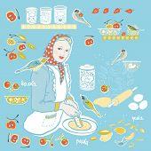 Retro Cozy Kitchen Utensil Vector Ilustration Set. Icon Set. Colorful Vintage Kitchen Utensil Folk A poster
