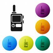 Black Walkie Talkie Icon Isolated On White Background. Portable Radio Transmitter Icon. Radio Transc poster