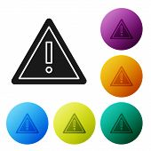Black Exclamation Mark In Triangle Icon Isolated On White Background. Hazard Warning Sign, Careful,  poster