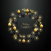 Christmas Wreath With Realistic Golden Baubles, Black Baubles, Stars And Snowflakes. Merry Christmas poster