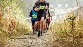 Group Runner Athletes Run Mountain Trail In Rain poster