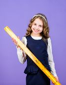 School Student Study Geometry. Kid School Uniform Hold Ruler. Pupil Cute Girl With Big Ruler. Geomet poster