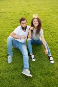 Princess And Hipster. Couple In Love Youth Booth Props. Emotional People. Summer Vacation. Couple Da poster