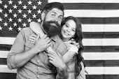 Independence Is Happiness. Independence Day Holiday. Father American Bearded Hipster And Cute Little poster
